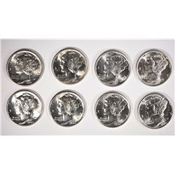 BU MERCURY DIME LOT: 1-1936, 1-1937. 1-1939 & 5-1940