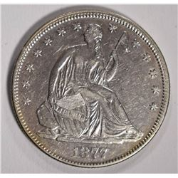 1877 SEATED HALF DOLLAR, AU+