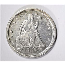 1854 SEATED LIBERTY QUARTER AU/BU CLEANED  BUT NICE