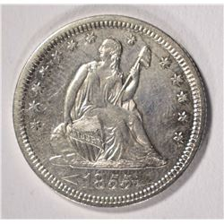 1855 ARROWS SEATED QUARTER, AU/UNC  NICE!
