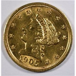 1905 $2.50 GOLD LIBERTY, CHOICE BU
