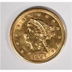 1907 $2.50 GOLD LIBERTY, CHOICE BU