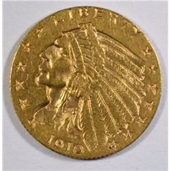 1910 $2.50 GOLD INDIAN, CHOICE BU
