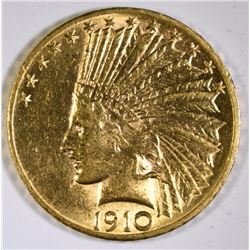 1910-D $10.00 GOLD INDIAN, CHOICE BU