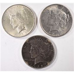 3 - SILVER PEACE DOLLARS; 1922, 1923, 1925, CIRC's