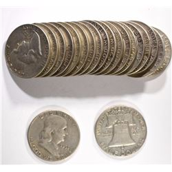 90% SILVER HALF DOLLAR ROLL - 20 COINS - MIXED FRANKLIN