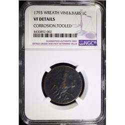 1793 WREATH CENT - VINE & BARS - NGC VF DETAILS