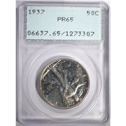"1937 PROOF WALKING LIBERTY HALF DOLLAR, PCGS PR-65  ""RATTLER"" HOLDER"