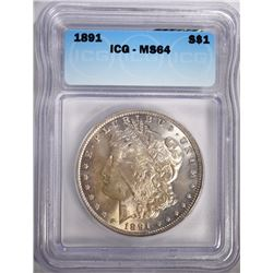 1891 MORGAN SILVER DOLLAR, ICG MS-64