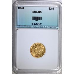 1903 $2.50 GOLD LIBERTY, EMGC GEM BU