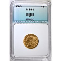 1909-D $5.00 GOLD INDIAN, EMGC CH/GEM BU
