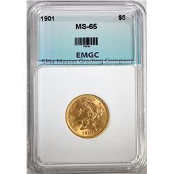 1901 $5.00 GOLD LIBERTY, EMGC GEM BU