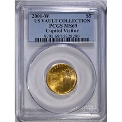 RARE 2001-W CAPITOL VISITOR $5.00 GOLD COMMEMORATIVE, PCGS MS-69