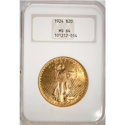 1924 $20.00 SAINT GAUDENS GOLD, NGC MS-64