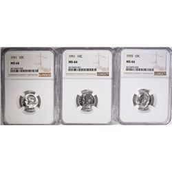 2-1951 & 1-1955 ROOSEVELT DIMES, NGC MS-66