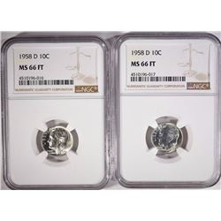 ( 2 ) 1958-D ROOSEVELT DIMES, NGC MS-66 FULL TORCH