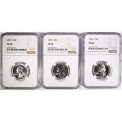 1957, 1959, & 1963 WASHINGTON QUARTERS, NGC PF-68
