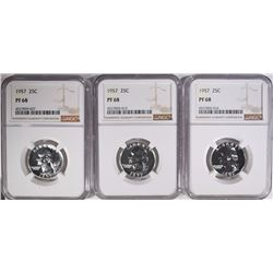 ( 3 ) 1957 WASHINGTON QUARTERS, NGC PF-68