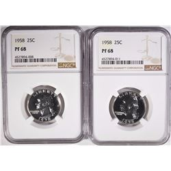 ( 2 ) 1958 WASHINGTON QUARTERS, NGC PF-68