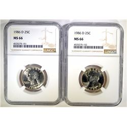( 2 ) 1986-D WASHINGTON QUARTERS, NGC MS-66
