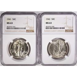 1941 & 1942 WALKING LIBERTY HALF DOLLARS, NGC MS-63