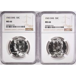 (2) 1965 SMS KENNEDY HALF DOLLARS NGC MS 66