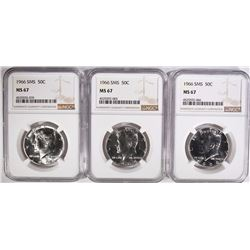 (3) 1966 SMS KENNEDY HALF DOLLARS NGC MS 67