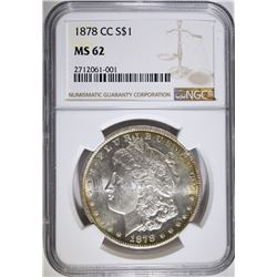 1878-CC MORGAN SILVER DOLLAR, NGC MS-62