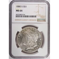 1880-S MORGAN SILVER DOLLAR, NGC MS-64