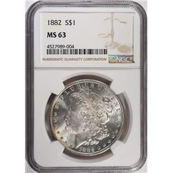 1882 MORGAN SILVER DOLLAR, NGC MS-63
