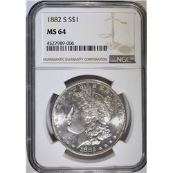 1882-S MORGAN SILVER DOLLAR, NGC MS-64
