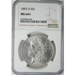 1883-O MORGAN SILVER DOLLAR, NGC MS-64+