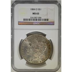 1884-O MORGAN DOLLAR NGC MS-65  HAS TONING