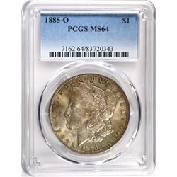 1885-O MORGAN SILVER DOLLAR, PCGS MS-64