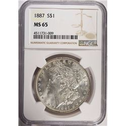 1887 MORGAN SILVER DOLLAR  NGC MS 65