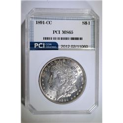 1891-CC MORGAN SILVER DOLLAR, PCI GEM BU!  NICE!!