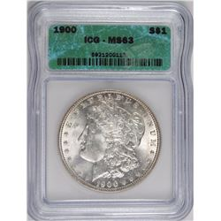 1900 MORGAN SILVER DOLLAR, ICG MS-63  WHITE