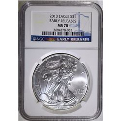 2013 AMERICAN SILVER EAGLE, NGC MS-70 EARLY RELEASES