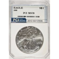 1999 AMERICAN SILVER EAGLE PCI PERFECT GEM
