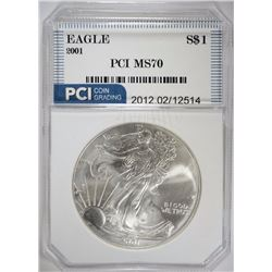 2001 AMERICAN SILVER EAGLE PCI PERFECT GEM