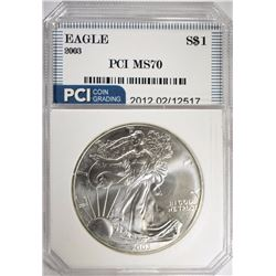 2003 AMERICAN SILVER EAGLE PCI PERFECT GEM