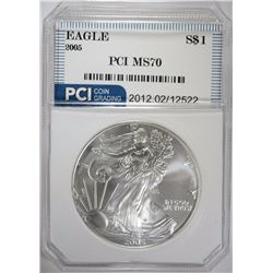 2005 AMERICAN SILVER EAGLE PCI PERFECT GEM