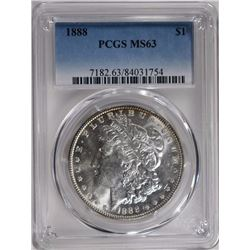 1888 MORGAN SILVER DOLLAR PCGS MS63