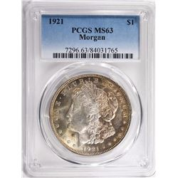 1921 MORGAN SILVER DOLLAR PCGS MS63