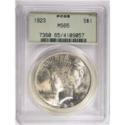 1923 PEACE SILVER DOLLAR PCGS MS65 OLD GREEN HOLDER!