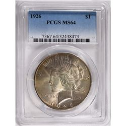 1926 PEACE SILVER DOLLAR PCGS MS64