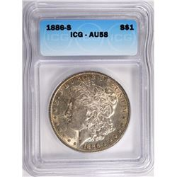1886-S MORGAN SILVER DOLLAR ICG AU58  KEY DATE