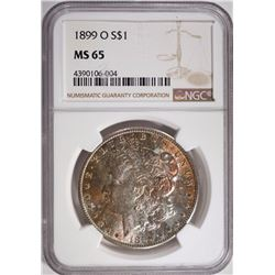 1899-O MORGAN SILVER DOLLAR NGC MS 65  PRETTY TONING