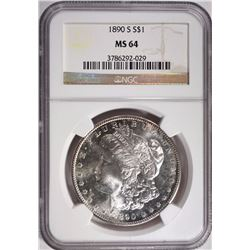 1890-S MORGAN SILVER DOLLAR NGC MS 64