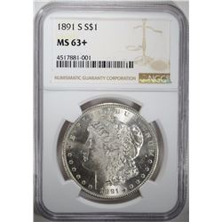 1891-S MORGAN SILVER DOLLAR NGC MS 63+